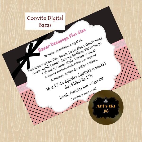Convite digital bazar no elo7