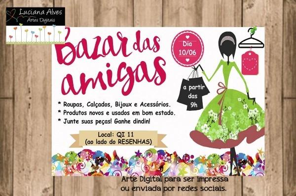 Convite digital bazar das amigas no elo7