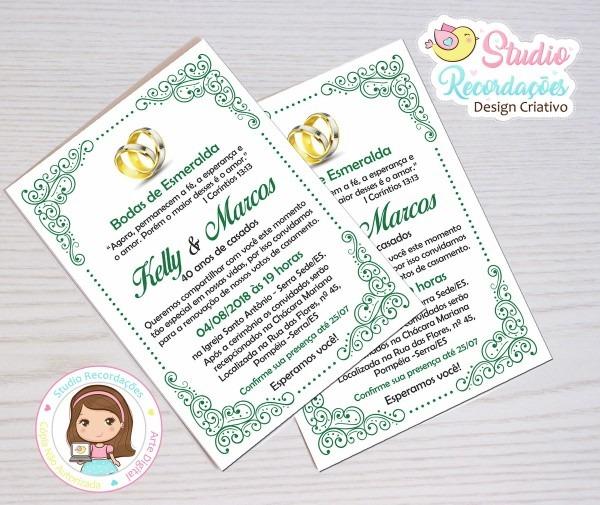 Convite digital bodas de esmeralda