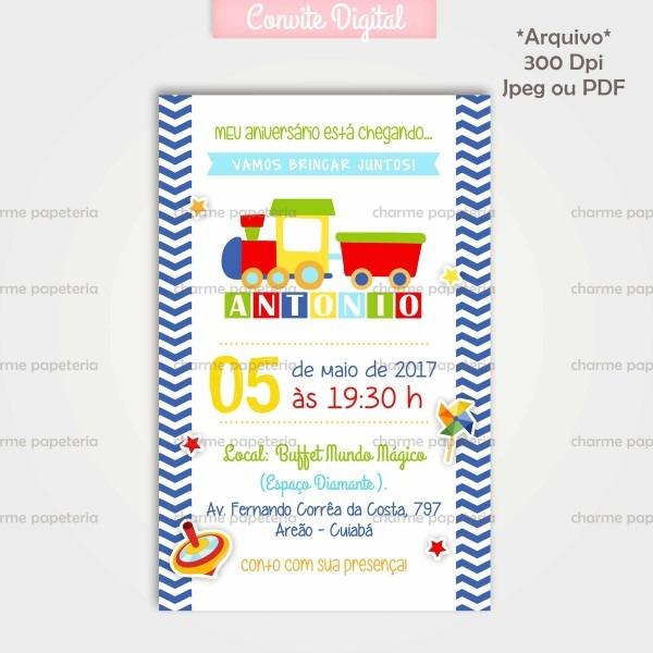 Convite digital brinquedos no elo7
