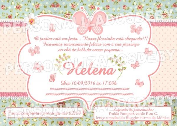 Convite digital cha de bebÊ borboletas no elo7