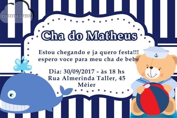 Convite digital chÁ de fralda ursinho marinheiro no elo7