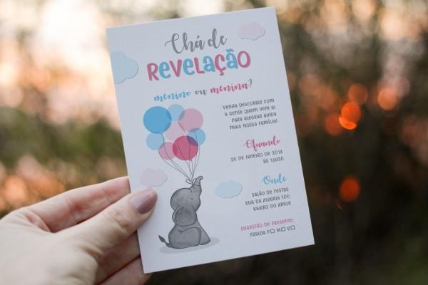 Convite digital chá de revelação elefante whatsapp impressão