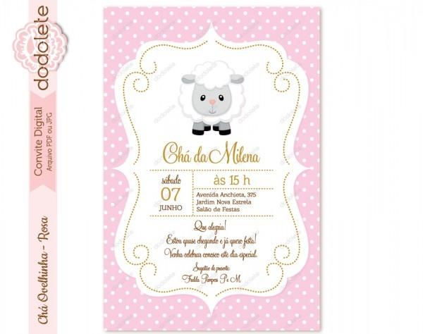 Convite digital chá ovelhinha