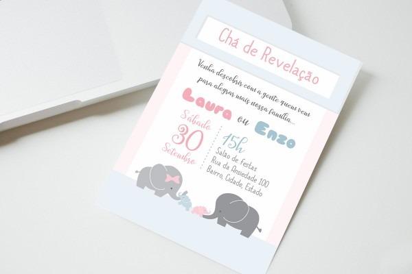 Convite digital chá revelação elefante no elo7