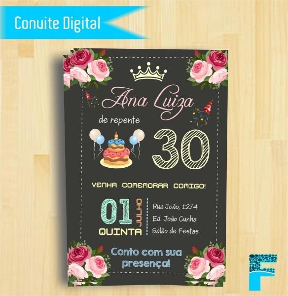 Convite Digital Chalkboard