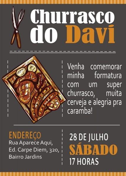 Convite digital churrasco no elo7