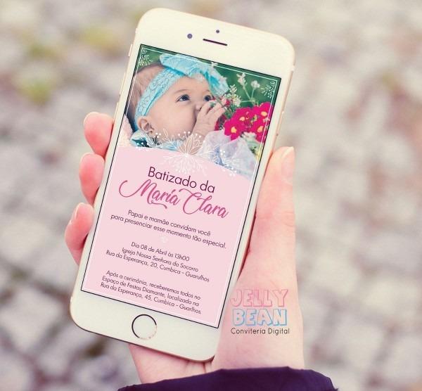 Convite digital de whatsapp batizado de menina com foto