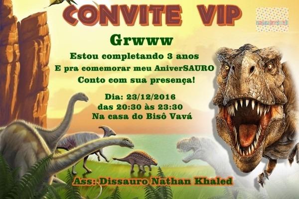 Convite digital dinossauro no elo7