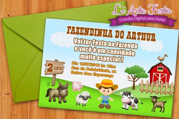 Convite digital fazendinha (grÁtis adesivo) no elo7