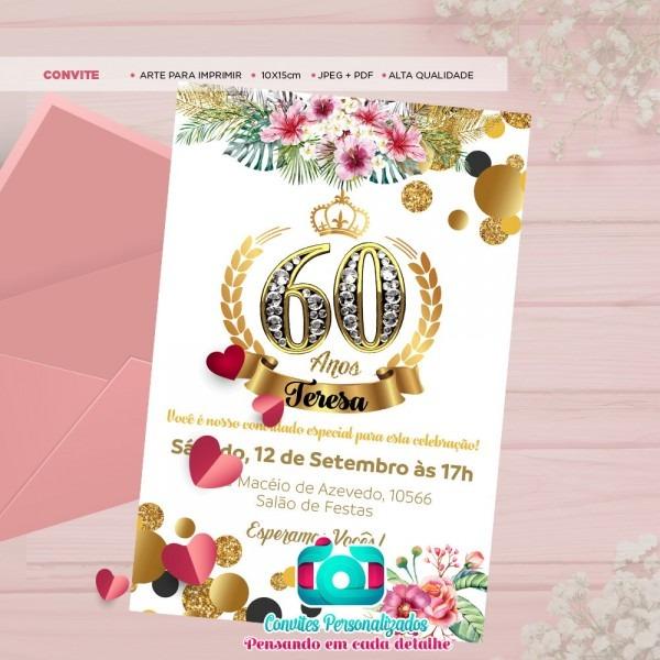 Convite digital festa 60 anos enviar via whatsapp no elo7