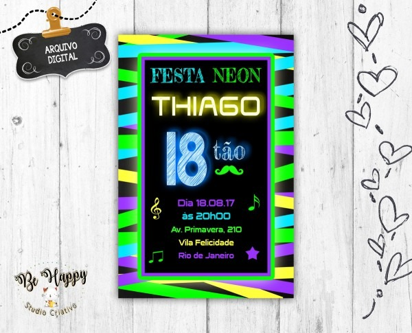 Convite digital neon no elo7