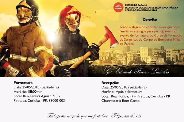 Convite digital formatura bombeiro militar no elo7