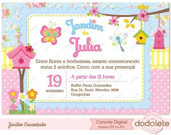 Convite Digital Jardim Encantado No Elo7