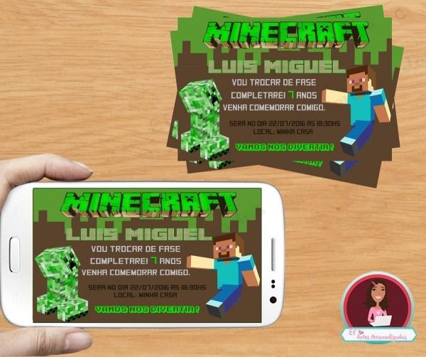 Convite digital minecraft no elo7