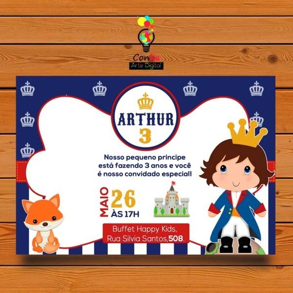 Convite digital pequeno príncipe (moreno e loiro) no elo7