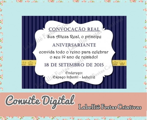 Convite digital realeza coroa azul no elo7