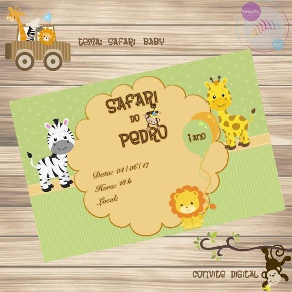 Convite Digital Safari Baby No Elo7