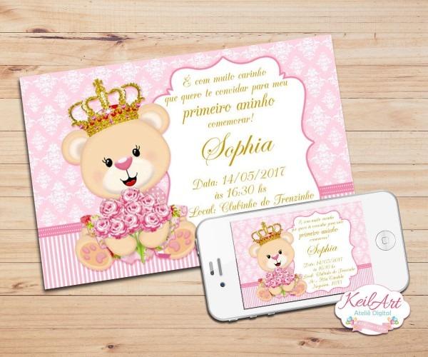 Convite digital ursinha princesa rosa no elo7
