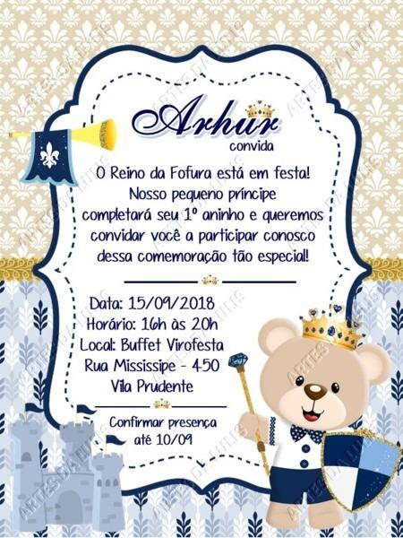 Convite digital ursinho príncipe azul marinho no elo7