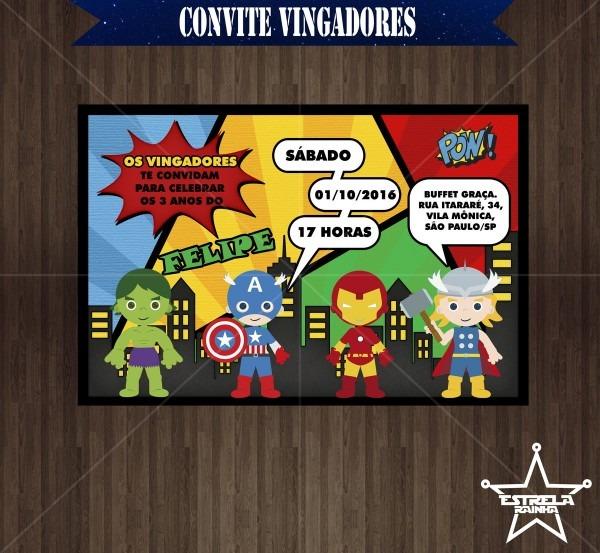 Convite digital vingadores baby no elo7