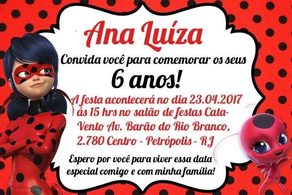 Convite Digital Virtual Ladybug Miraculous Personalizado No Elo7