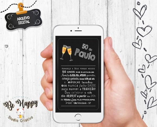 Convite digital whatsapp 50 anos boteco