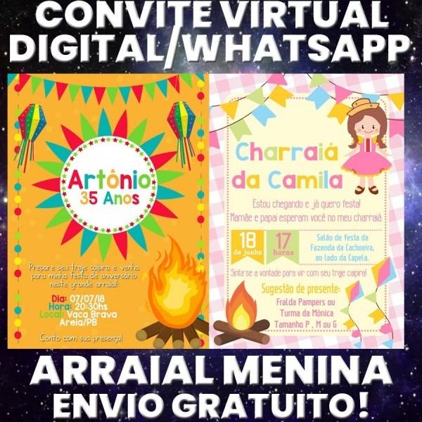 Convite digital whatsapp festa junina arraial charraiá