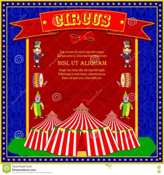 Convite Do Cartaz Dos Desenhos Animados Do Circo Do Vintage Para O