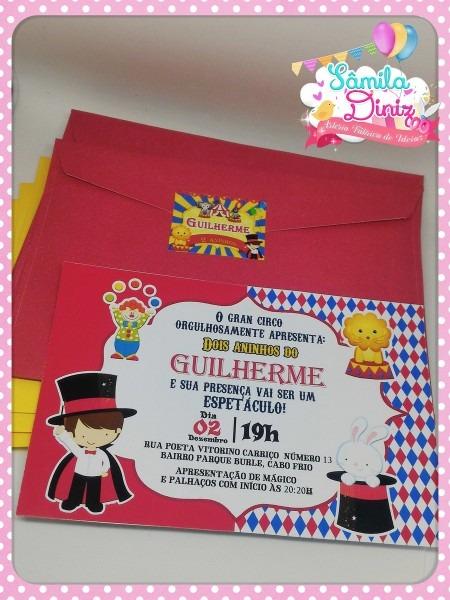Convite envelope circo 10 x 7 no elo7