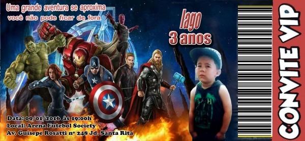 Convite especial vingadores cineminha no elo7
