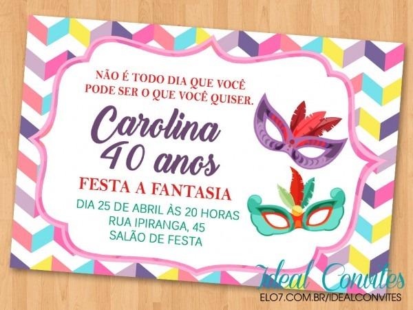 Convite festa fantasia