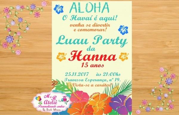 Convite festa havaiana no elo7