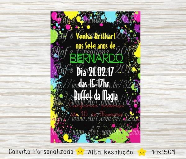 Convite festa neon digital no elo7