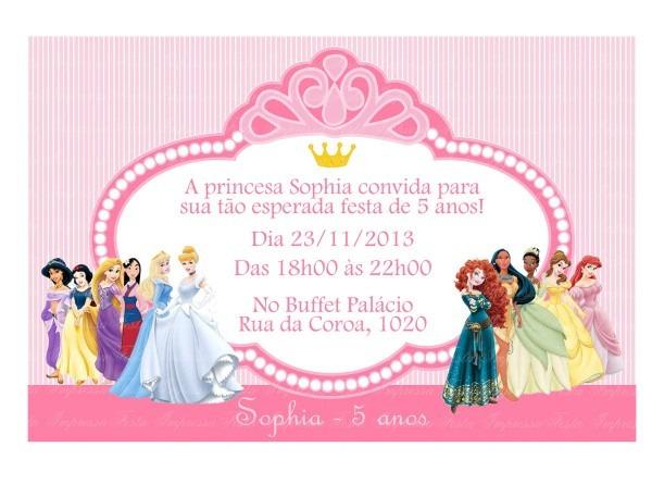 Convite festa princesas disney no elo7