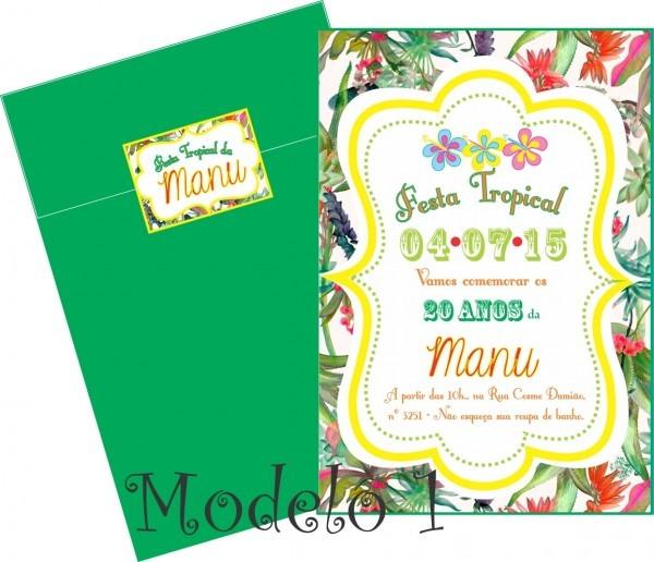 Convite festa tropical no elo7