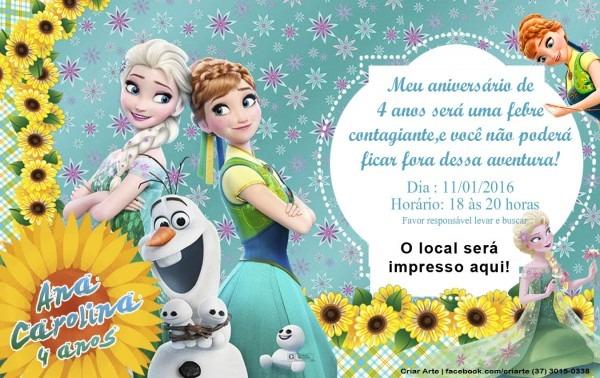 Convite frozen fever infantil no elo7