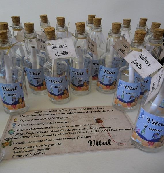 Convite garrafa tema fundo do mar no elo7