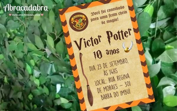 Convite harry potter no elo7