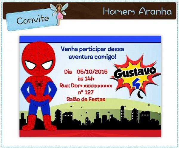 Arte convite homem aranha 004