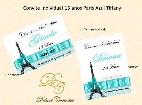 Convite individual 15 anos paris no elo7