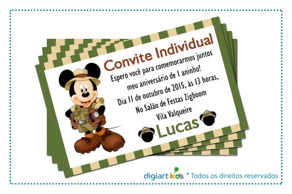 Convite individual mickey safari no elo7