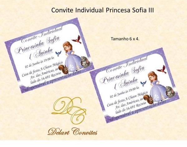Convite individual princesa sofia no elo7