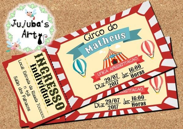 Convite ingresso circo frete grátis no elo7
