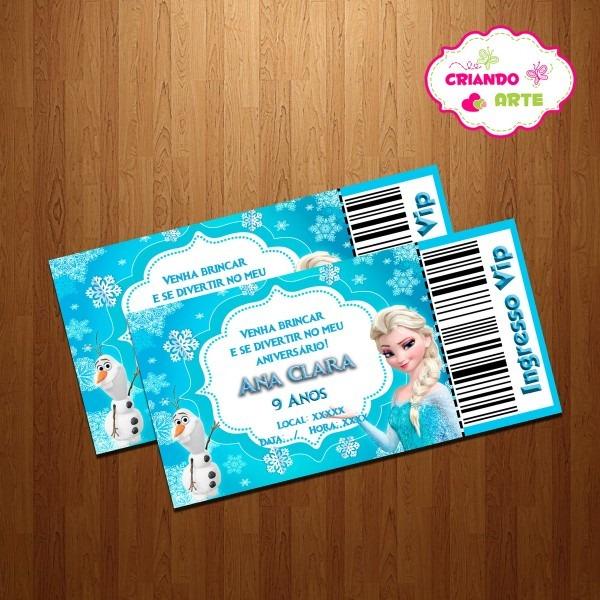 Convite ingresso vip frozen no elo7