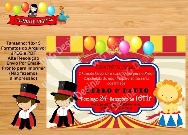 Convite irmão circo digital no elo7