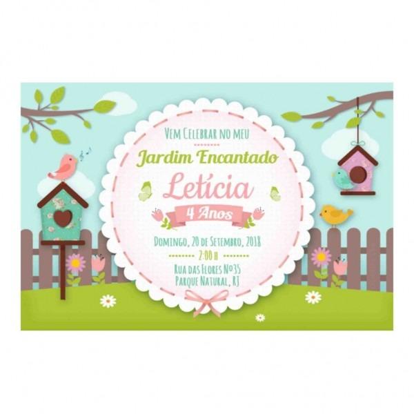 Convite Jardim Encantado Grátis Para Editar E Imprimir + Kit