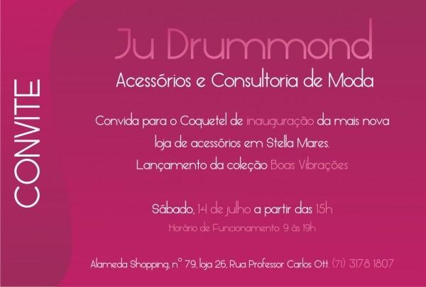 Convite De Inauguração Da Loja Ju Drummond Acessórios E