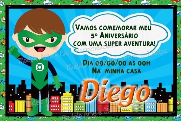 Convite Lanterna Verde No Elo7