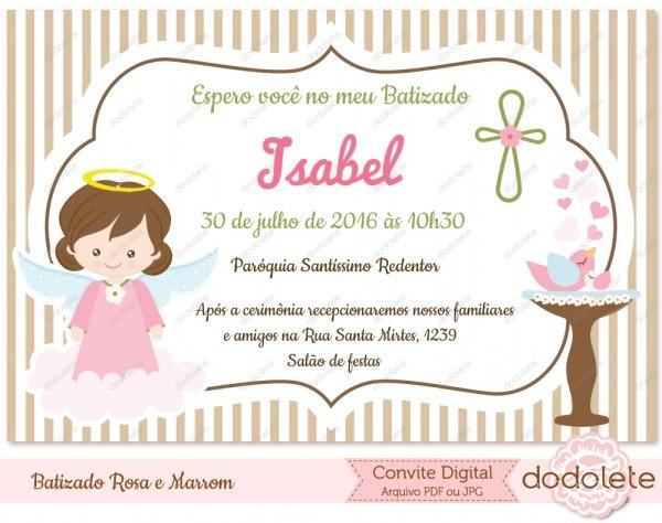 Convite virtual batizado rosa